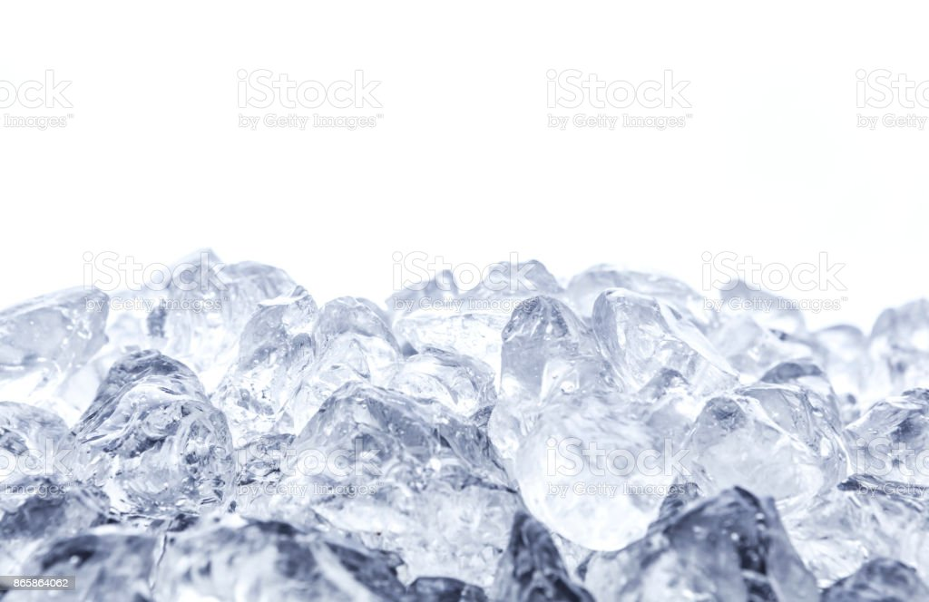 Heap of crushed ice on white background stock photo