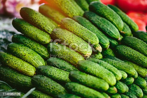 Heap of cucumbers at Farmers' market