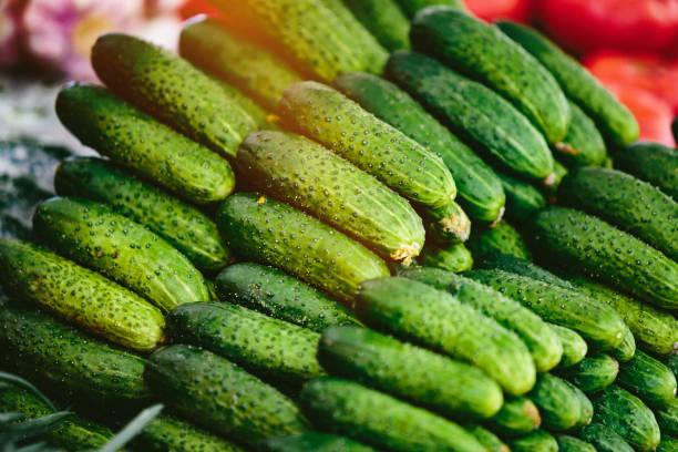 Heap of cucumbers at Farmers' market stock photo