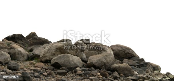 Heap of dark stones and gravel isolated on white background.