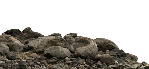 Heap of dark stones Heap of dark stones and gravel isolated on white background. rock object stock pictures, royalty-free photos & images