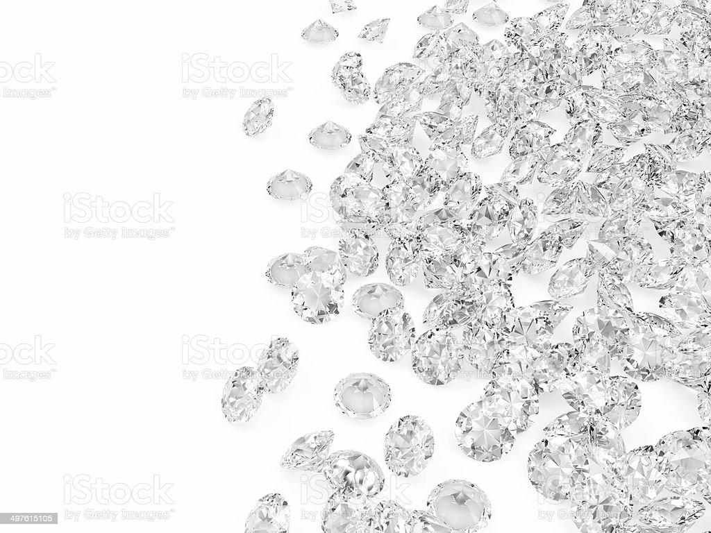 Heap of Diamonds isolated on white background stock photo
