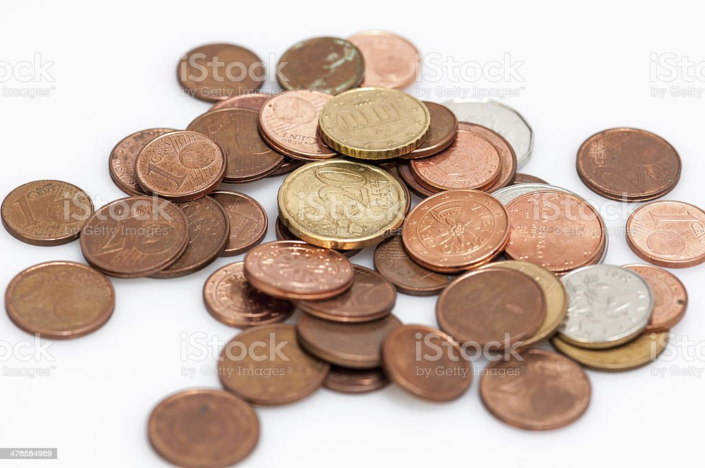 Heap of different EU coins stock photo