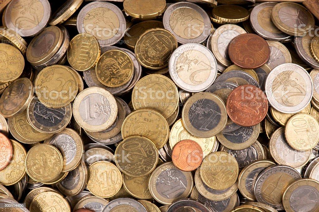 Heap of Euro Coins stock photo