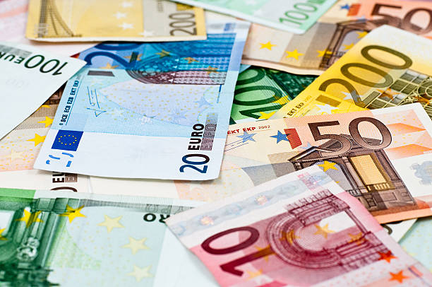 heap of euro notes side view stock photo