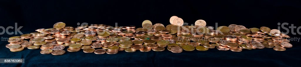 heap of Eurocent coins stock photo