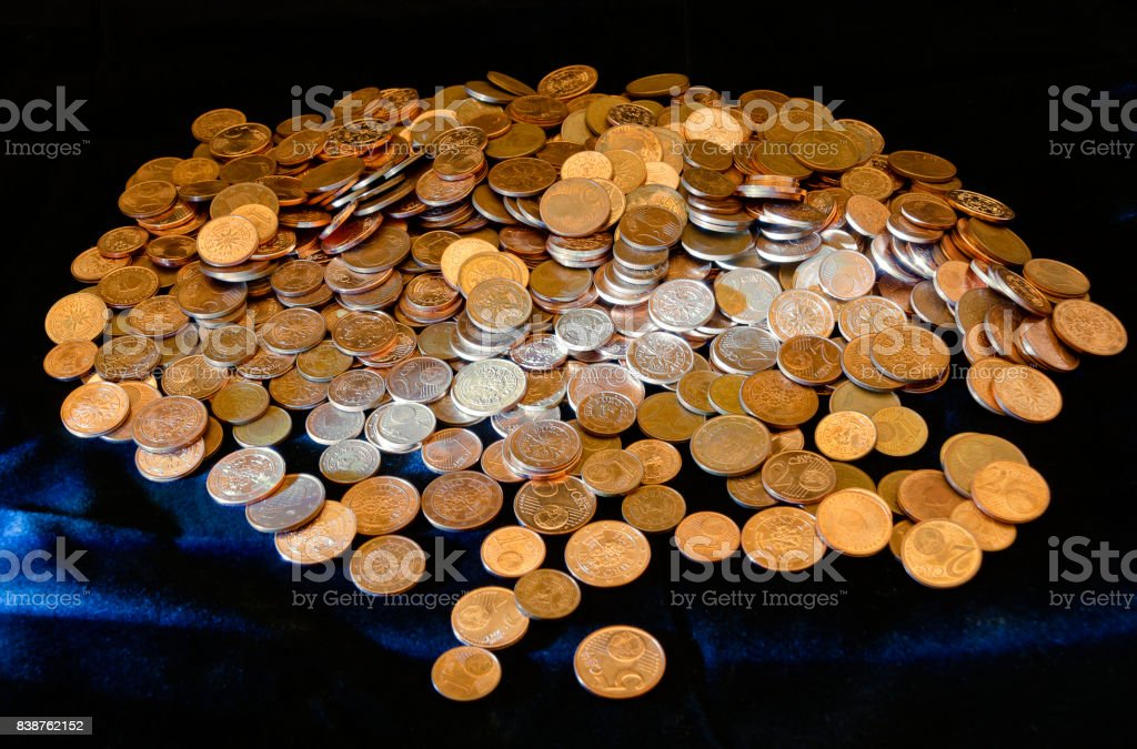 Heap of Euro-cent coins stock photo