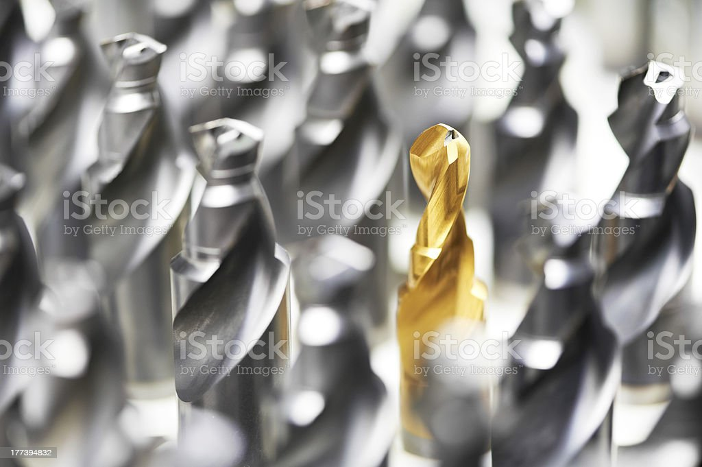 heap of finished metal drills stock photo