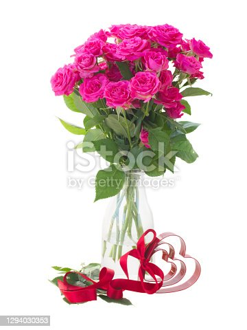 bouquet of fresh pink rose flowers with heart isolated on white background