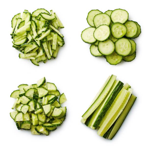 Heap of fresh sliced cucumbers stock photo