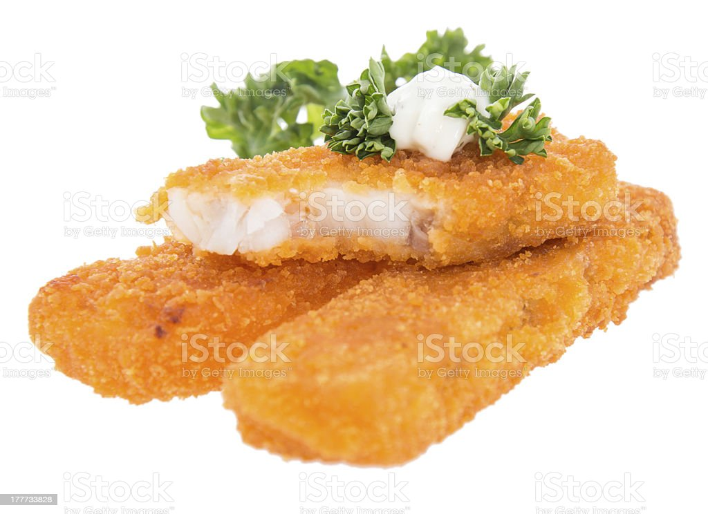Heap of fried Fish with Remoulade stock photo
