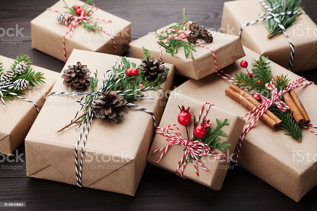 Heap of gift or present box wrapped in kraft paper. – Foto