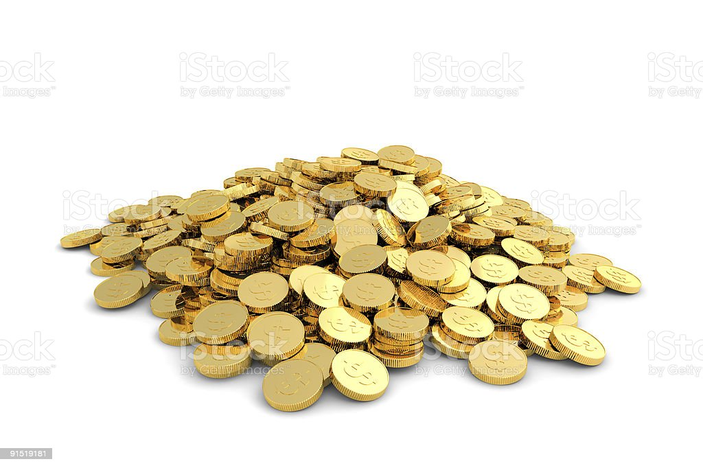 A heap of gold coins against a white background stock photo