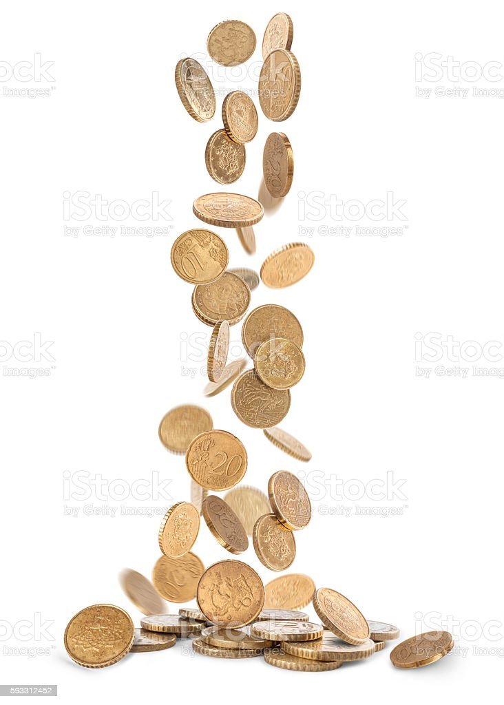 Heap of gold coins falling to the ground stock photo