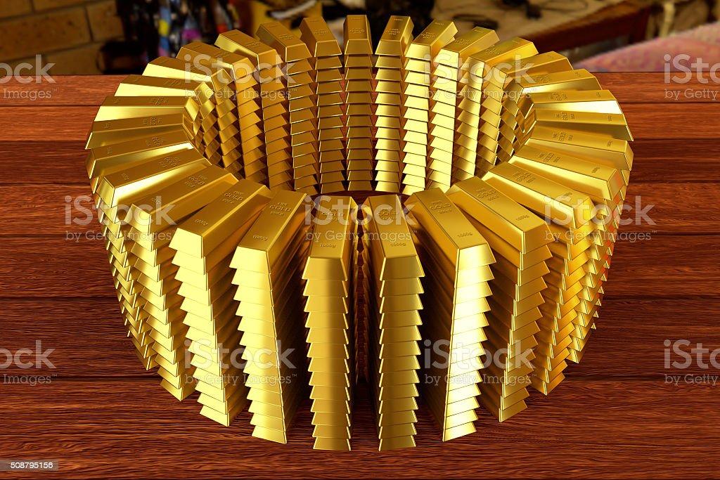 heap of goldbars stock photo