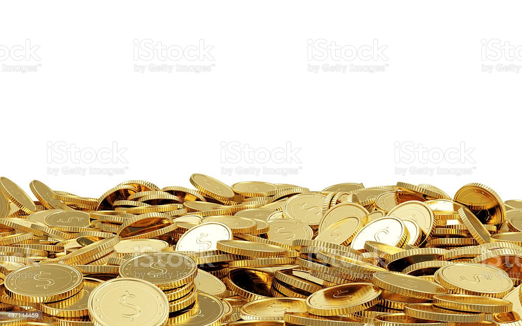 Heap of Golden Coins stock photo