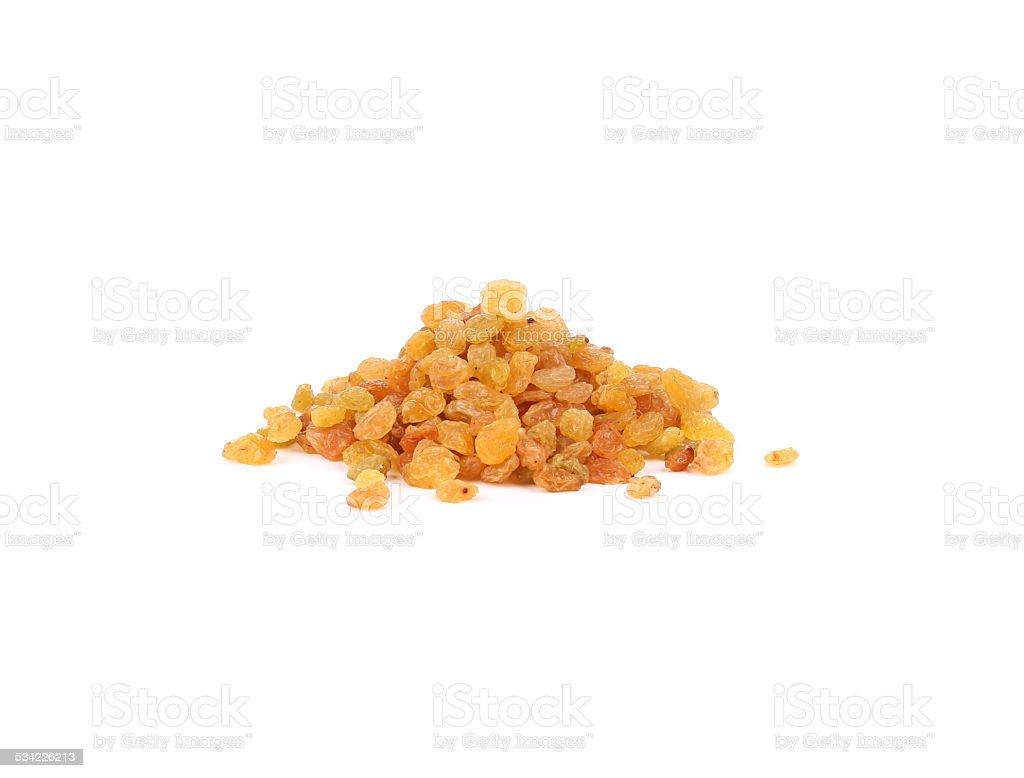 Heap of golden raisins. stock photo
