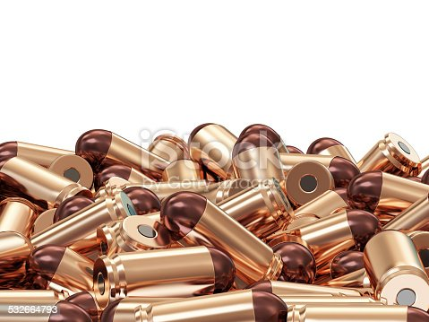 1043434568 istock photo Heap of Gun Bullets isolated on white background 532664793
