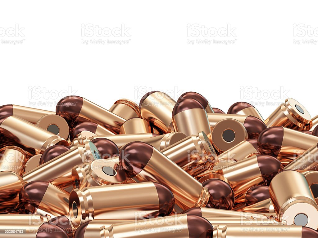 Heap of Gun Bullets isolated on white background stock photo