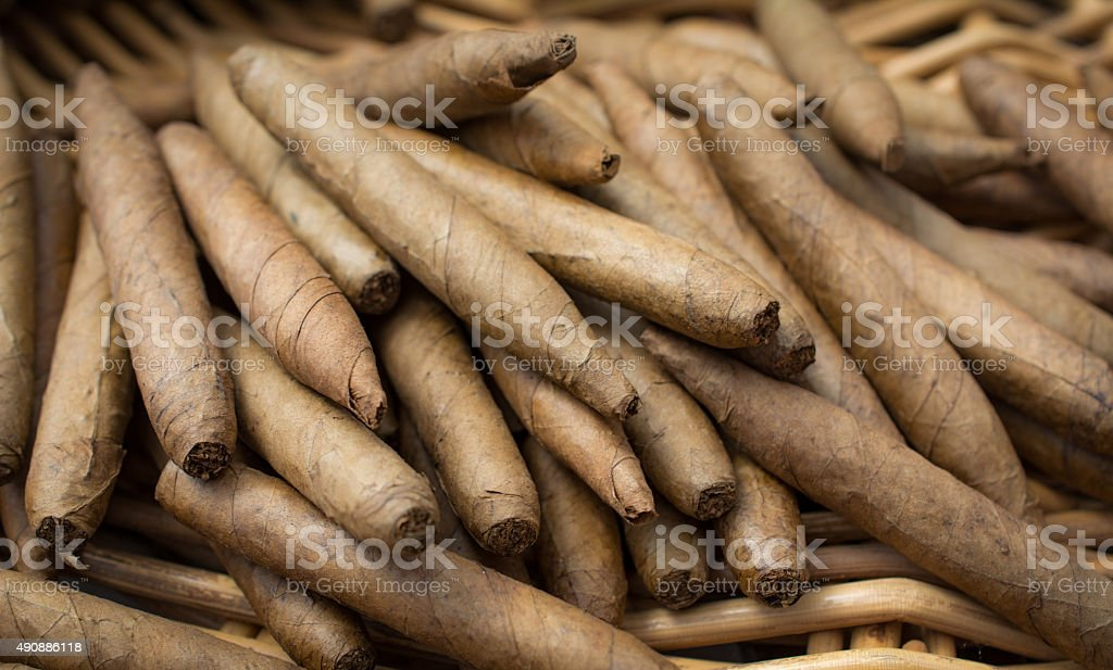 Heap Of Handmade Cigars Stock Photo - Download Image Now
