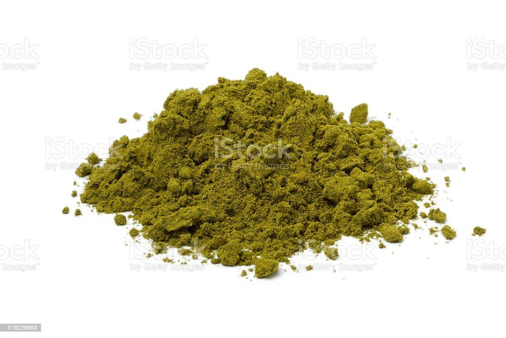 Heap of henna powder stock photo