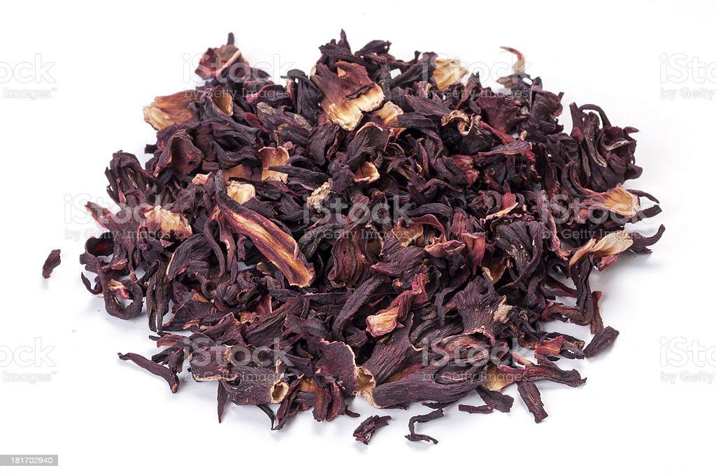 Heap of Hibiscus tea on white royalty-free stock photo