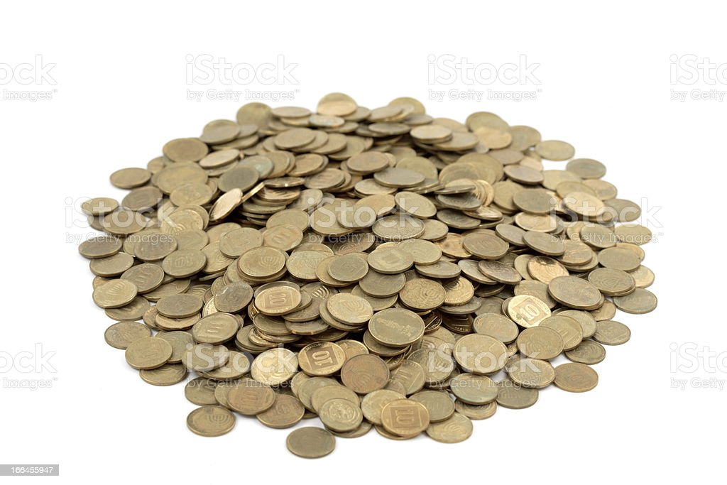 Heap of israeli coins stock photo