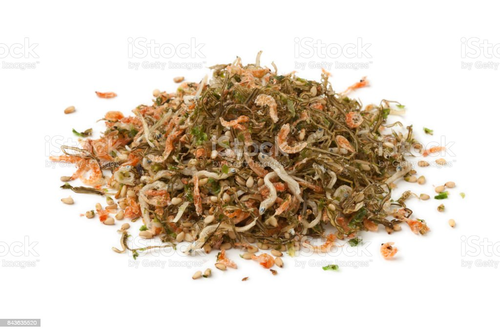 Heap of Japanese rice topping stock photo