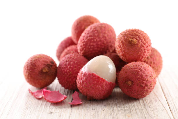 heap of lychee stock photo