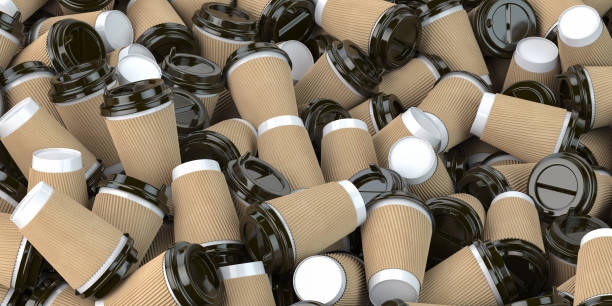 Heap of many empty paper coffee cups. Recycling of plastic waste concept. stock photo