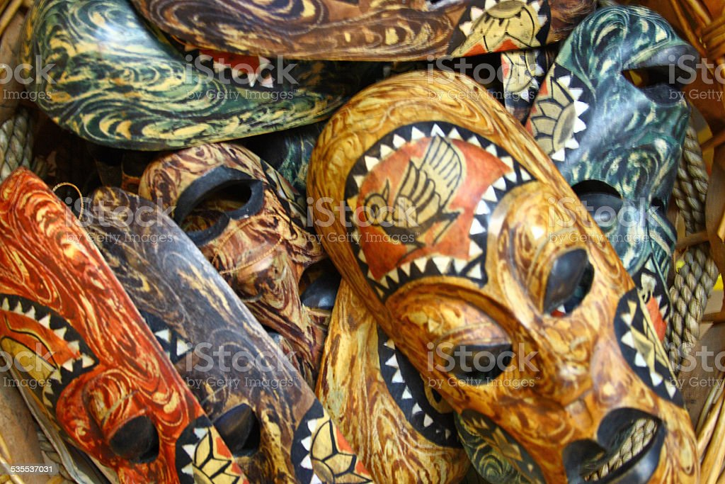 Heap of many ethnical authentic masks stock photo