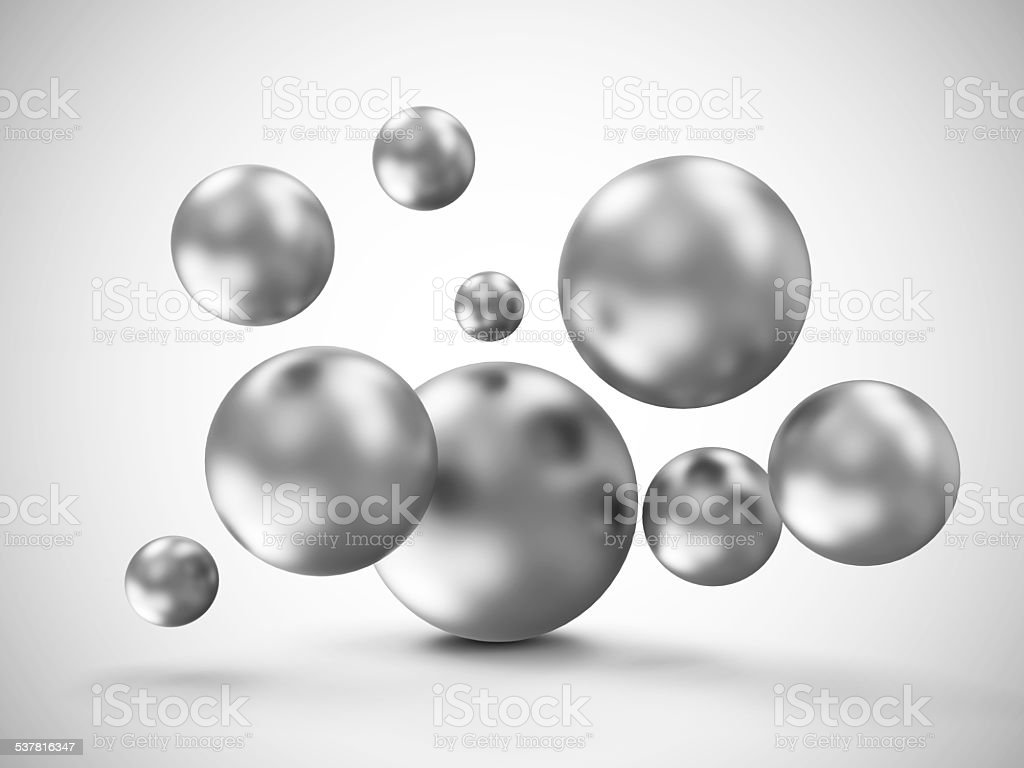 Heap of Metal Spheres Abstract Geometric Background stock photo