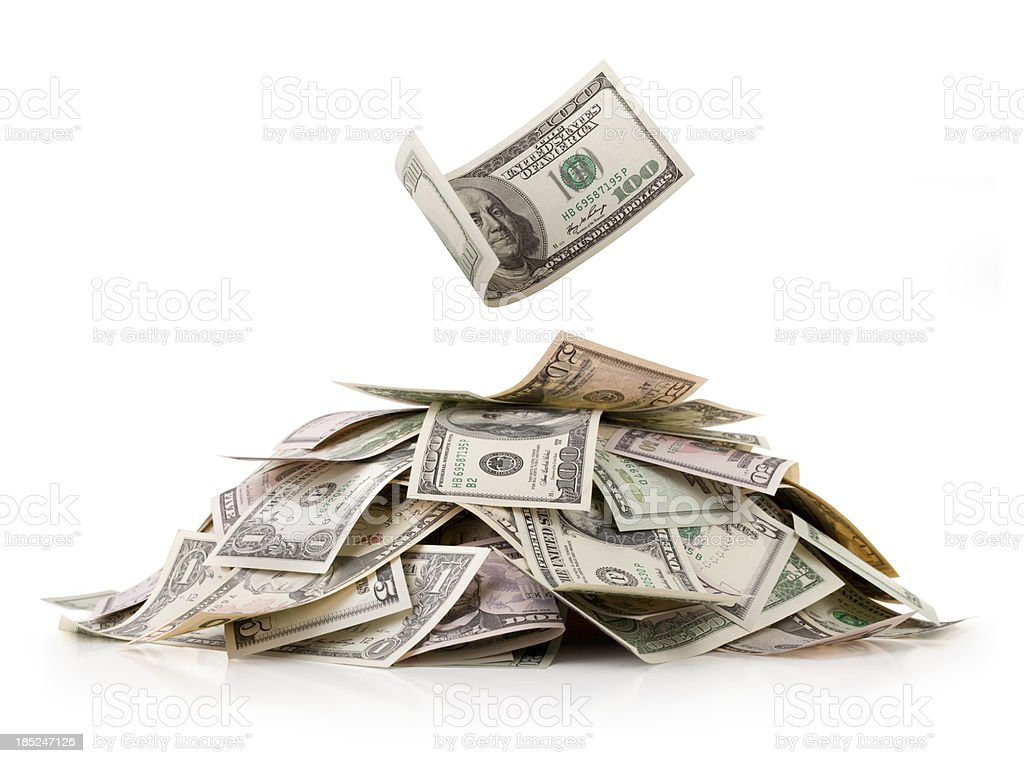 Heap of money. Dollar bills. stock photo