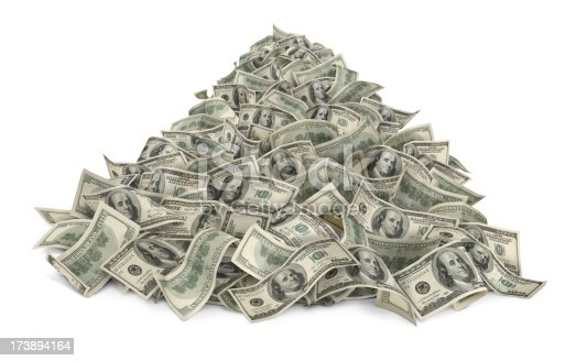 Heap of money (one hundred-dollar bills) isolated on white background.