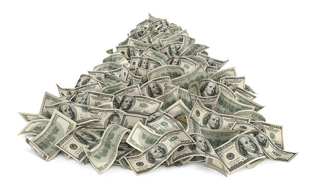 Heap Of Money Heap of money (one hundred-dollar bills) isolated on white background. stack stock pictures, royalty-free photos & images