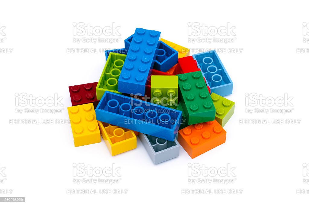 Heap of multicolor Lego Blocks stock photo