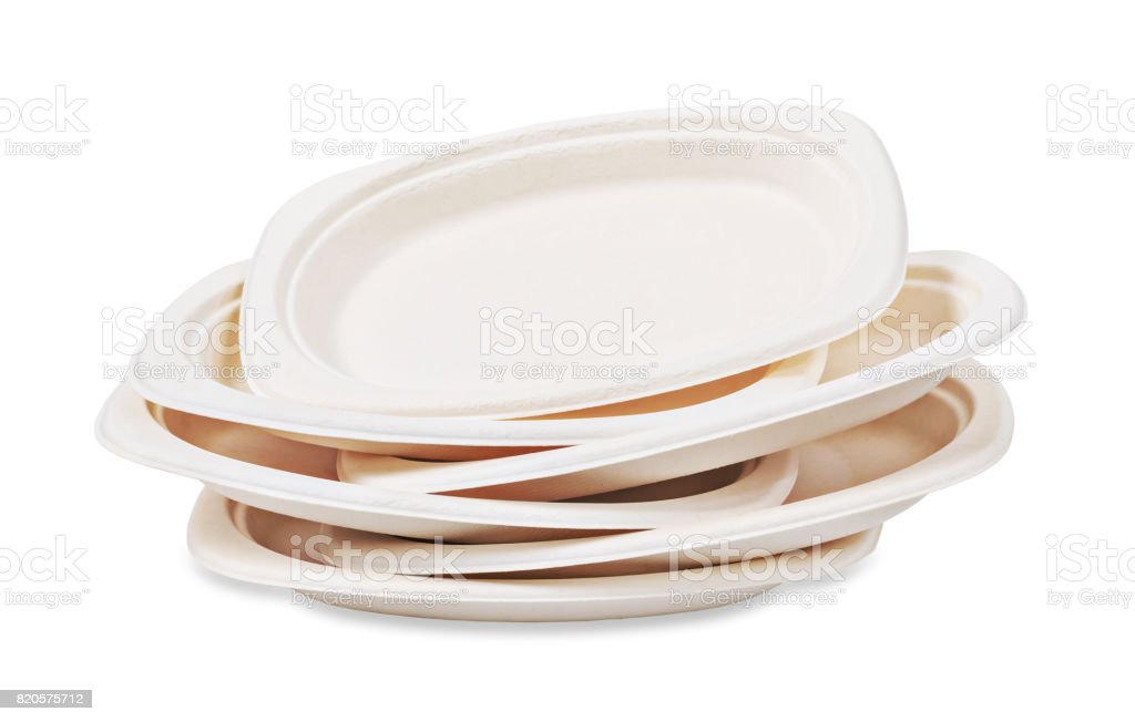 Heap of Natural plant fiber food plate stock photo
