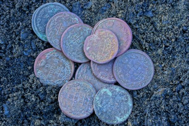 heap of old brown copper coins are on black earth - photo reverse search stock pictures, royalty-free photos & images