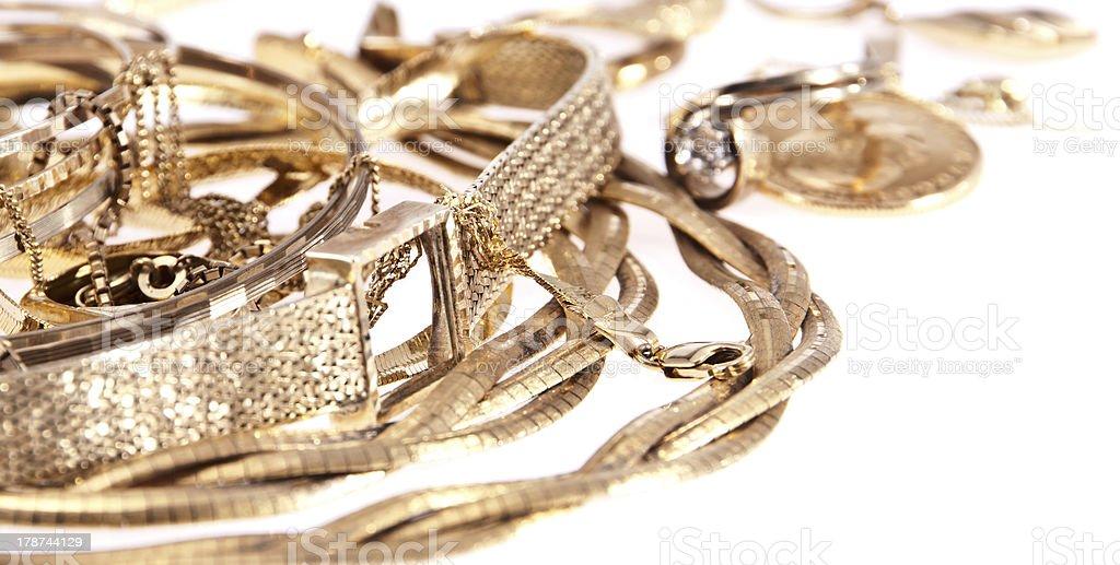 Heap of old jewellery stock photo