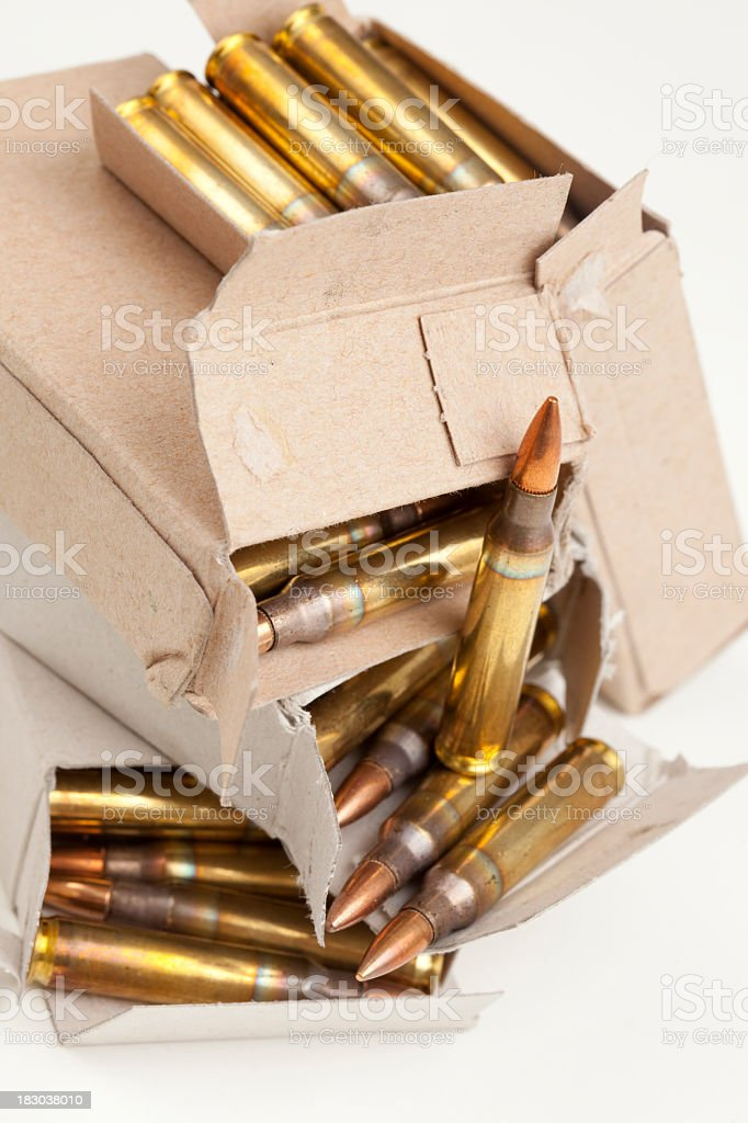 Heap of packages with M16 rifle bullets. royalty-free stock photo