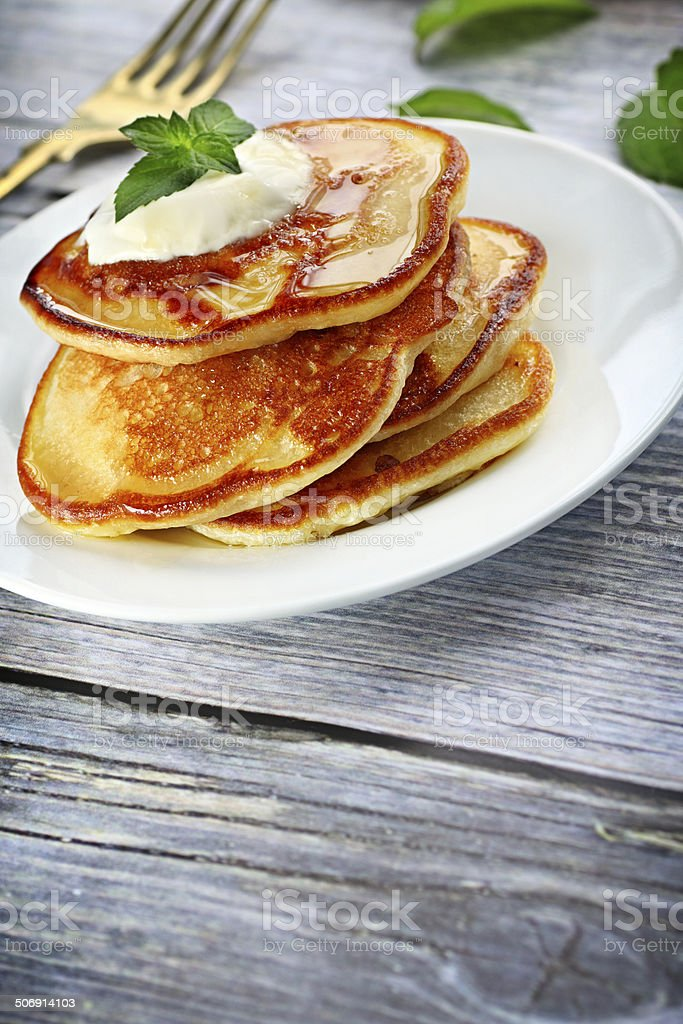 Heap of pancakes stock photo