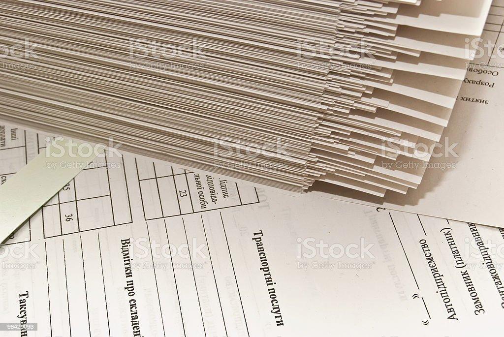 Mucchio di moduli cartacei foto stock royalty-free