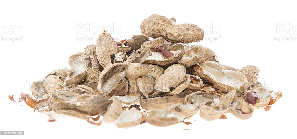 Heap of Peanut shells isolated on white stock photo