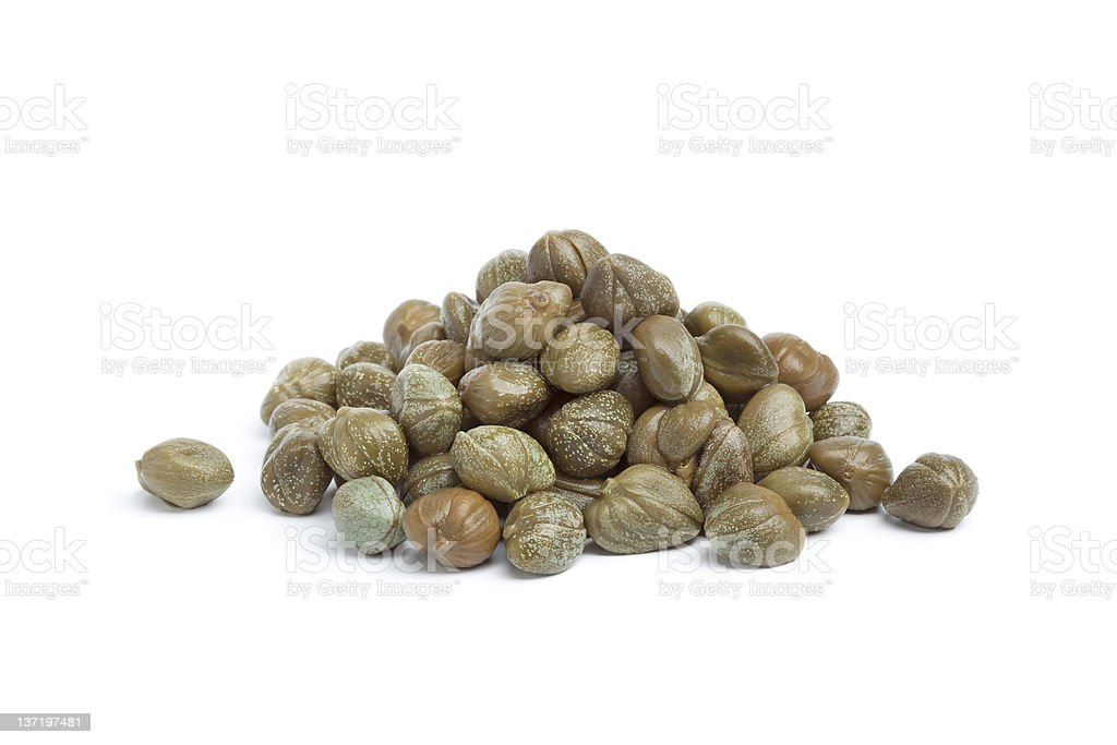 Heap of pickled capers stock photo