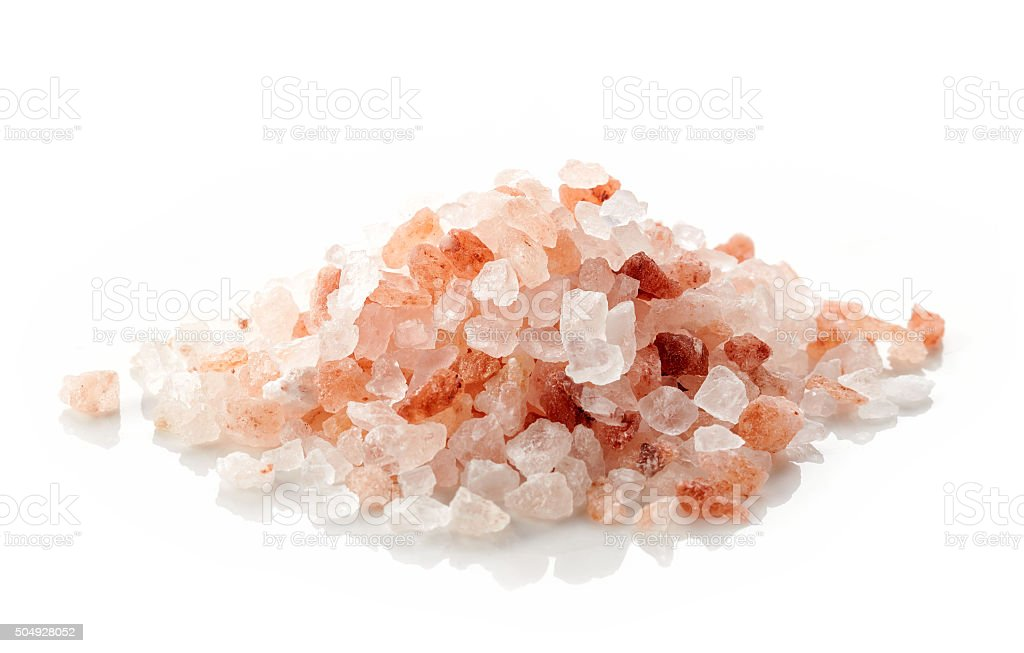 heap of pink himalayan salt stock photo