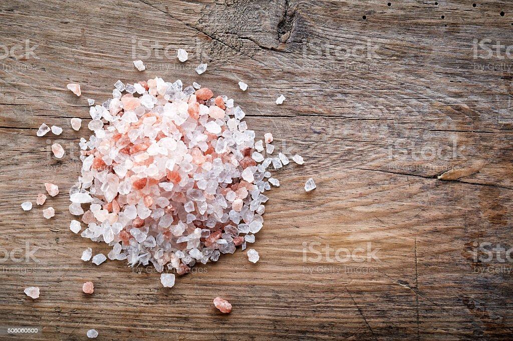heap of pink himalayan salt stock photo