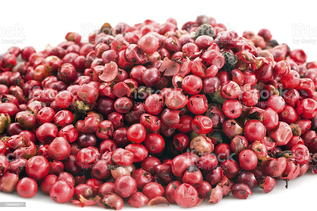 heap of pink pepper in corns closeup royalty-free stock photo