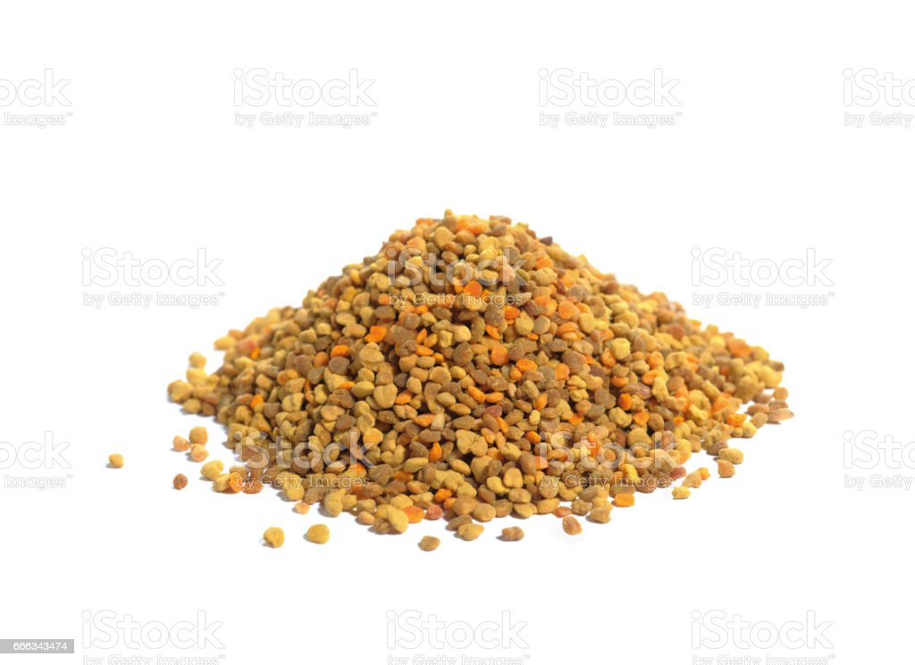 heap of pollen isolated on white background stock photo
