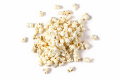 Above view of fresh popcorn isolated on white background