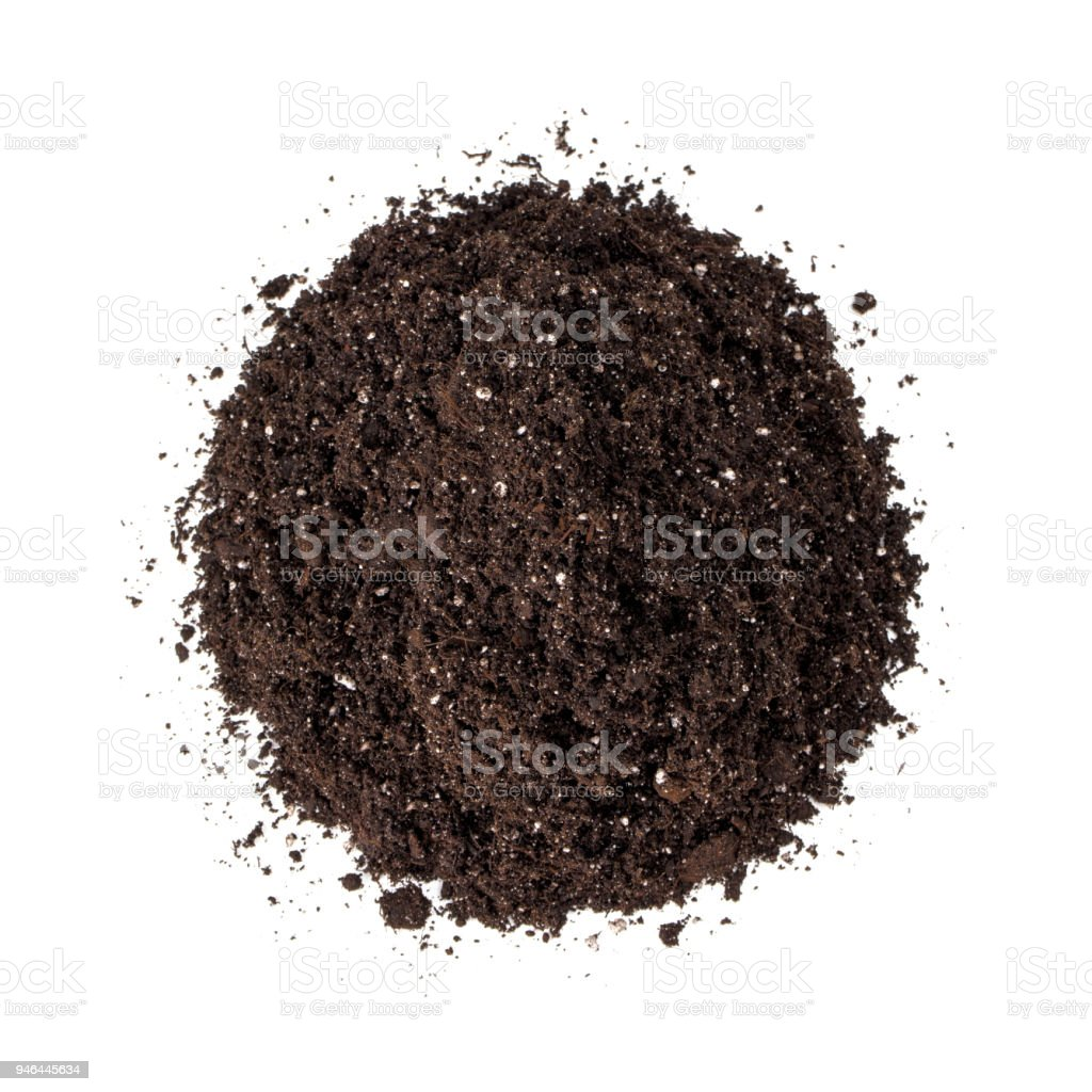 Heap of potting soil (dirt) isolated on white stock photo